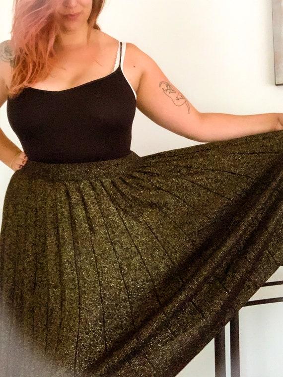 VINTAGE DKNY Gold Glitter Midi Skirt