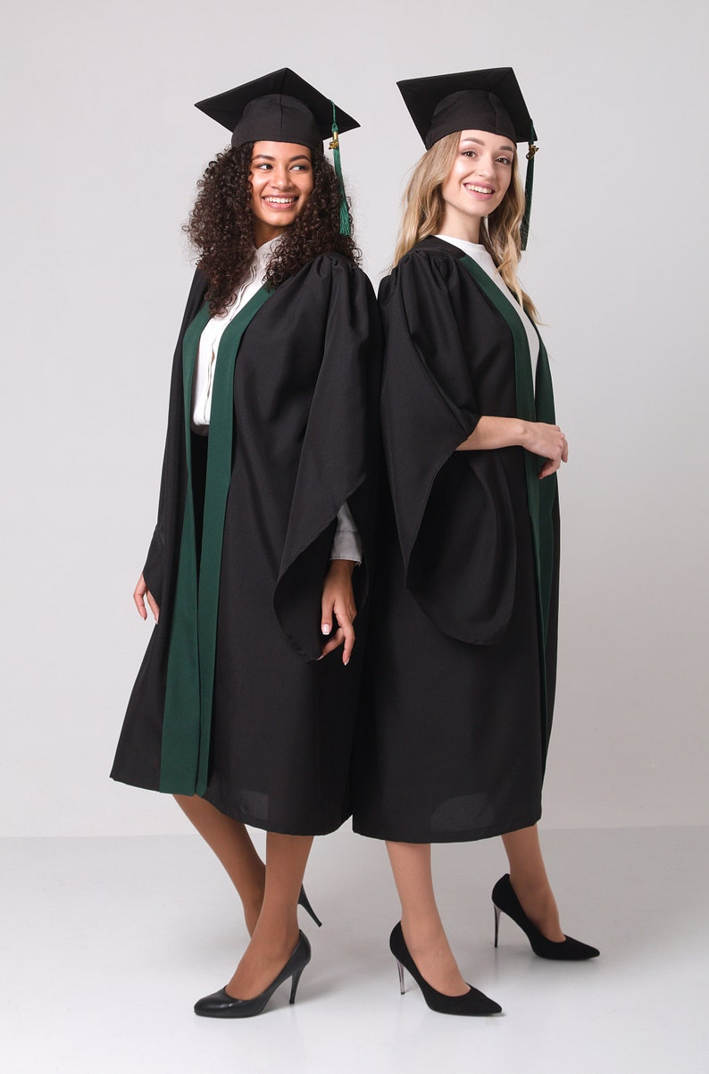 Graduation gown Bachelors gown Forest green graduation set Academic robes Academic dress Graduate gown student