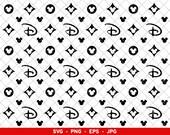 Disney Louis Vuitton Pattern svg, LV Disney Monogram svg, Mickey Minnie Mouse Print png, Silhouette Cut File png eps jpg
