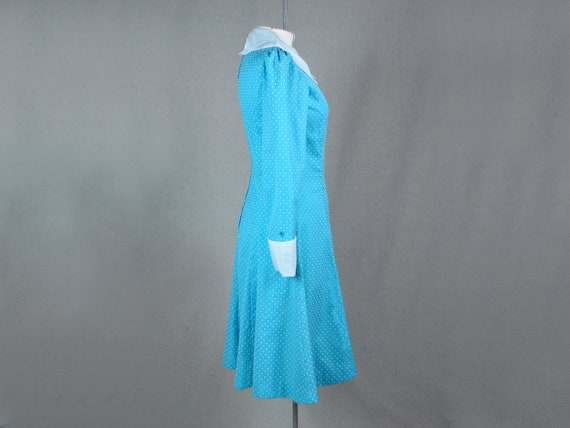Amazing 70's vintage blue polka dog dress, size M