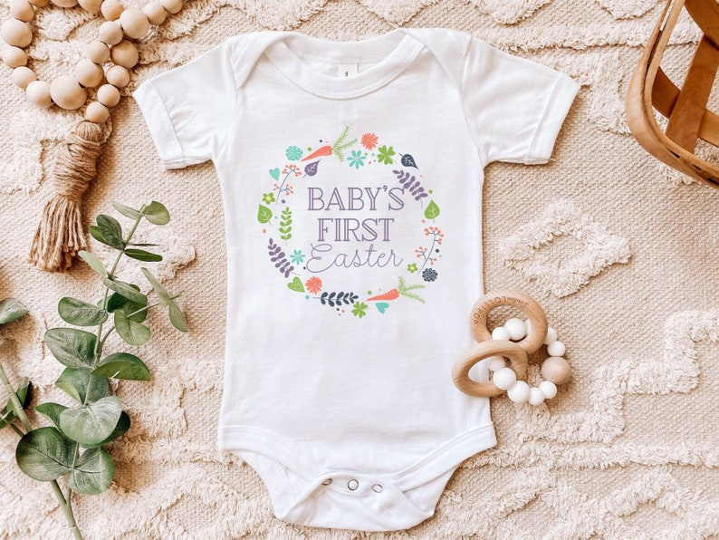 Baby/'s First Easter Onesie for Newborn Gift 1st Easter Shirt Newborn Easter Baby Girl Easter Outfit Boho Easter Outfit Pink Easter Outfit