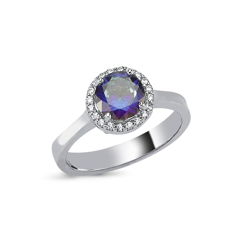 Purple Stone Round Rose Ring
