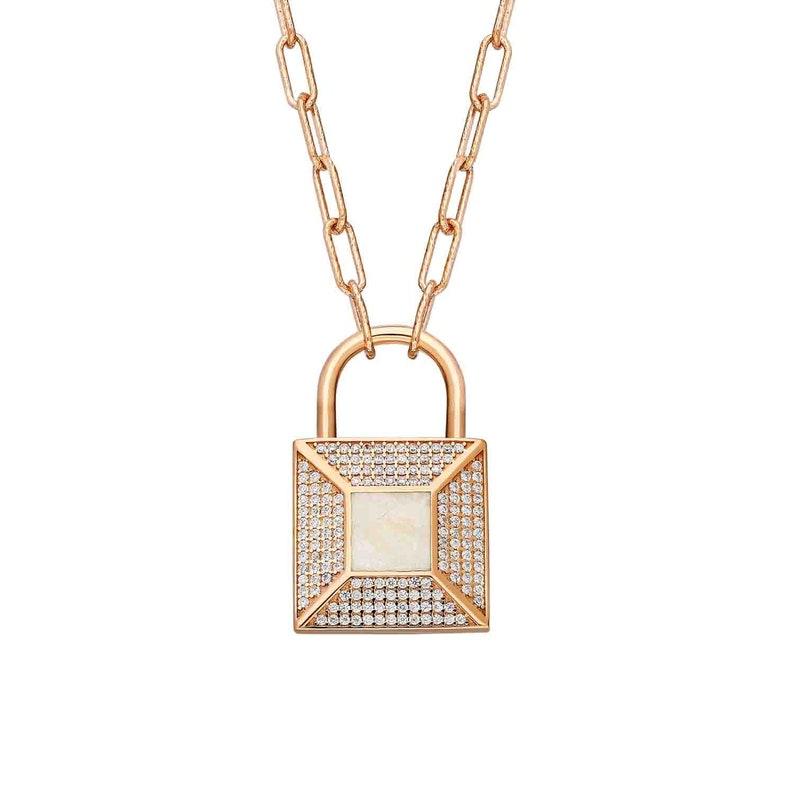 Square Viscential Lock Silver Pendant Stone Belly Mineli-