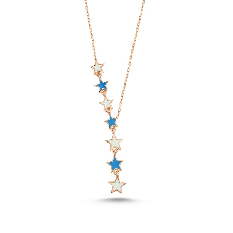 Straining Star Rose Silver Necklace-