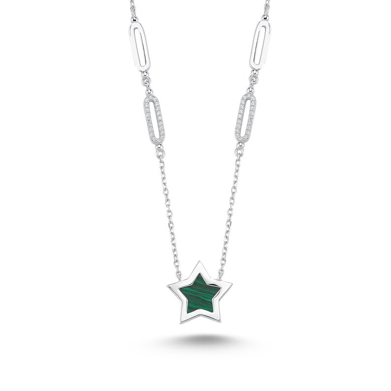 Oval Ring Green Star Necklace