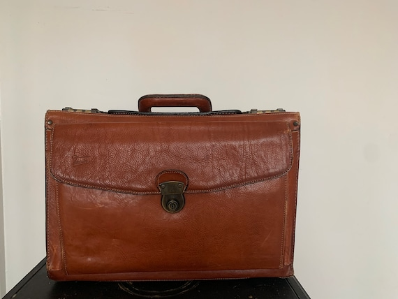 Vintage French Leather 1960s Texier Briefcase