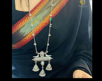 Bollywood Jewelry Ethnic Indian Jewelry Indian Silver Necklace Set German Silver Necklace Oxidised Necklace Bohemian Afghani Necklace