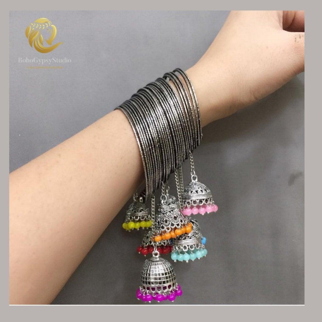 Ghungroo Bracelet Oxidized Stretchy BanglesAfghani Style Fashion Wear Bracelet Ethnic Bangles Banjara BanglesIndian bangles gifts