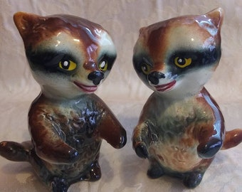 Made In Japan with label Raccoon Family Salt and Pepper Shakers