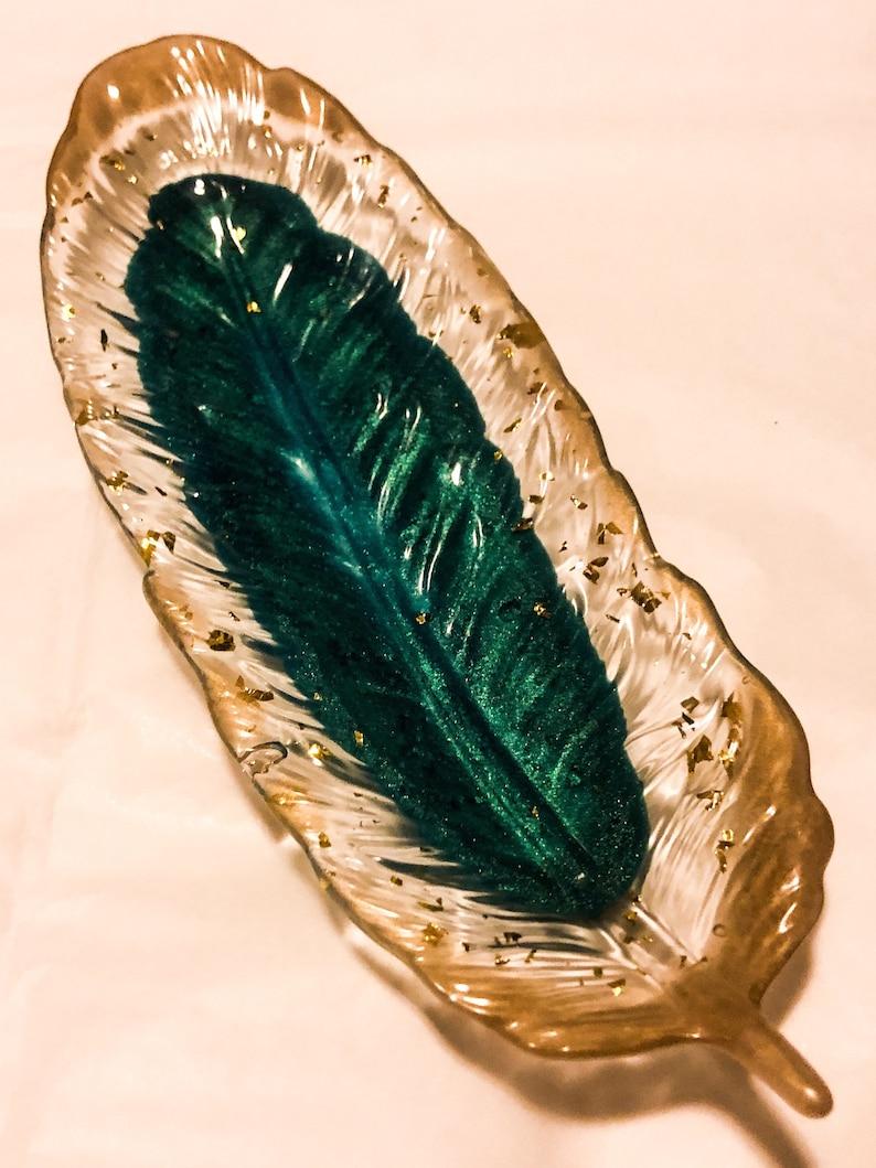 Ring dish 9\u201d long 3\u201d wide. feather shape Custom made