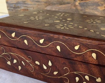 15cm Single Elegant Refurbished Upcycled Rosewood Box with Floral Bronze Inlay