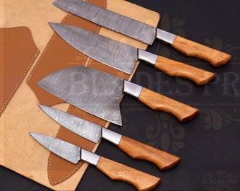 Handmade Damascus Steel chef knife set | Kitchen knife set | Japanese chef knife set | Set of 5 Knives | kitchen knives | Chef knife set