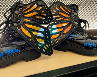 One of a Kind Hand Painted Kids Butterfly Combat Boots