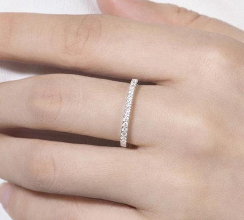 0.60 ct Round Cut Moissanite Diamond Half Eternity Gold Engagement BandWedding BandAnniversary Gift For Her