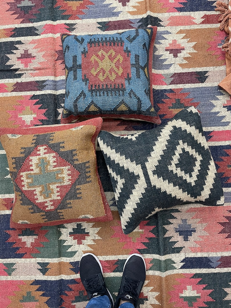 3Set kilim cushion cover wool jute cushion cover Indian handmade kilim bohemian cushion square cushion size 18x 18