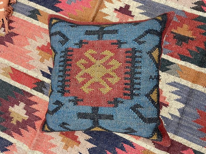 Rustic geometrical design Wool jute cushion cover Indian handmade kilim bohemian style in square size 18x 18