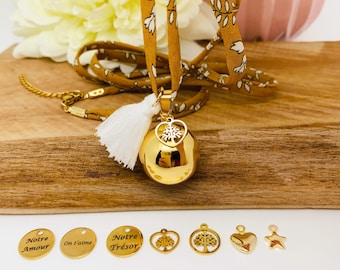 Pregnancy bola chain in cotton camel fabrics with gold plated bola ball and charm to choose from
