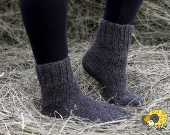 Long Socks Sheep Wool Dark Grey Pure Natural U.K 5-8