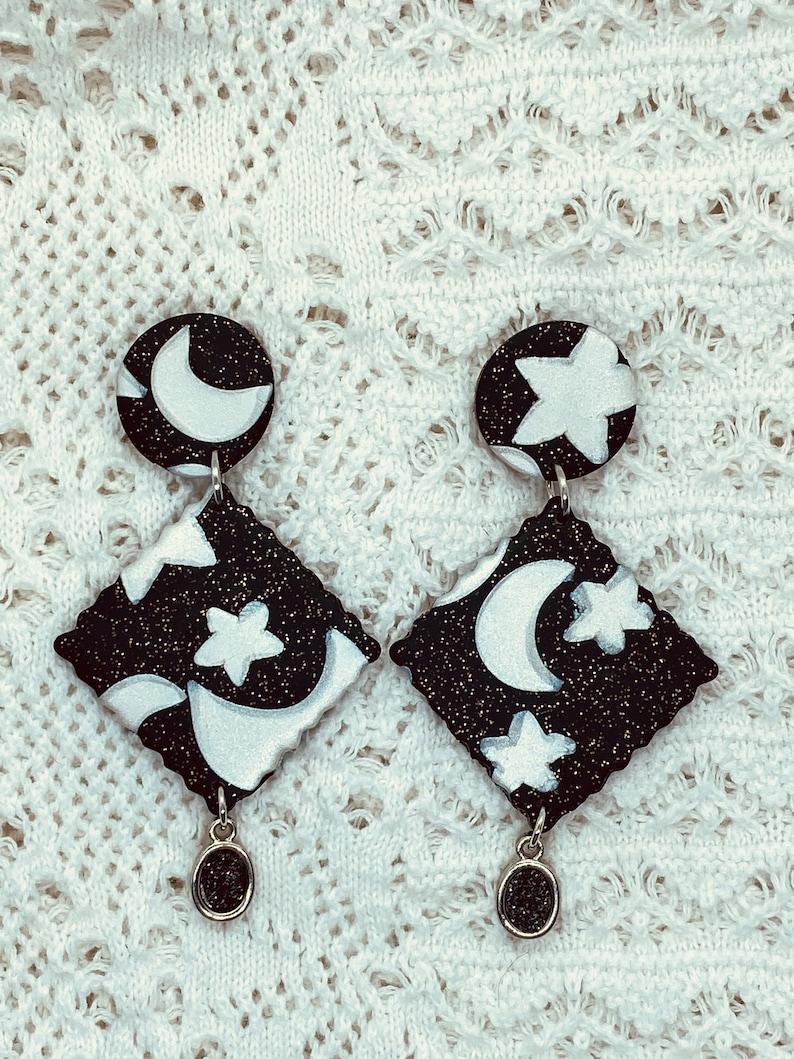 Universe Earrings Galaxy Earrings Celestial Earrings| Polymer Clay Earrings Stars and moon Earrings| Space Earrings Clay earrings |
