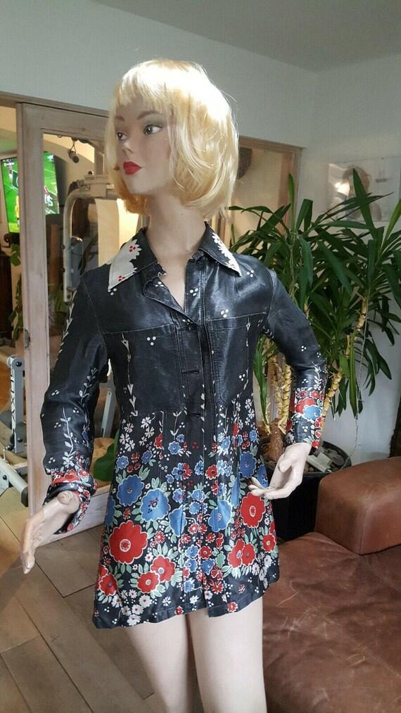 Ossie Clark vintage (1966) shirt size 8, grey+flor