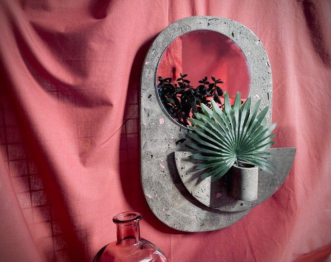 Featured listing image: Large Concrete Wall Mirror with Air Plant Holder, made using reclaimed materials    Handmade Concrete Decor