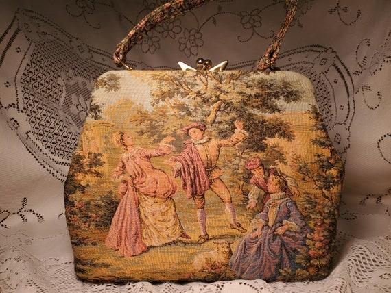 Vintage needlepoint tapestry purse romantic scene