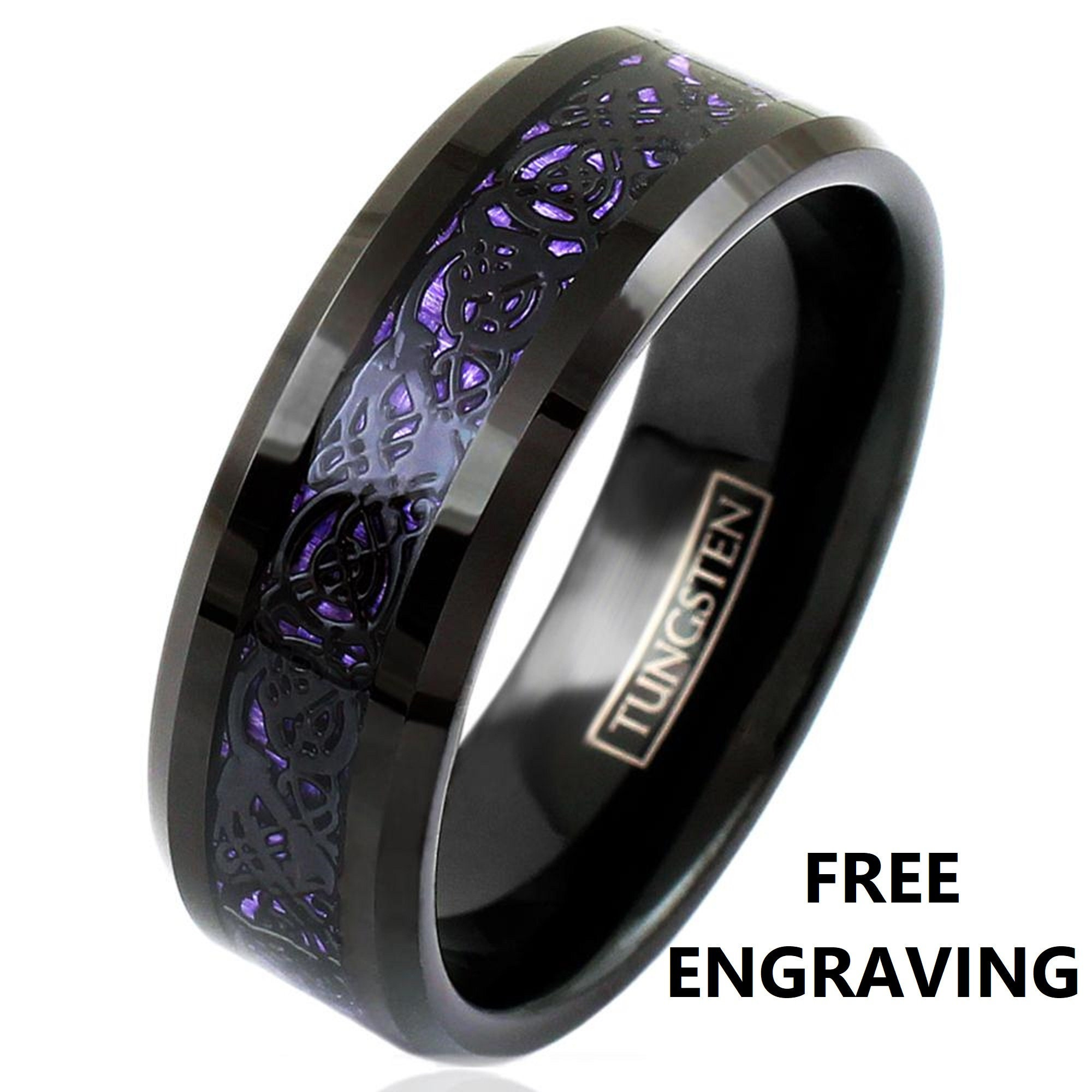 8mm Comfort Fit Black Tungsten Ring Band with Black Celtic Dragon on Purple Faux Carbon Fiber Inlay, Purple and Black Wedding Rings,