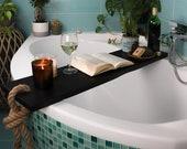BLACK WOODEN BATH Caddy / Bath Shelf / Bath Accessories / Live Edge Bath Table / Bath Tray / Bathroom Decor / Bathtub Caddy / Gift for Her