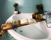 WOODEN BATH CADDY / Bath Shelf / Bath Accessories / Live Edge Bath Table / Bath Tray / Bathroom Decor / Bathtub Caddy / Gift for Her