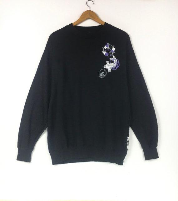 Vintage SUKAJAN JAPANESE BRAND Black Large CrewNec
