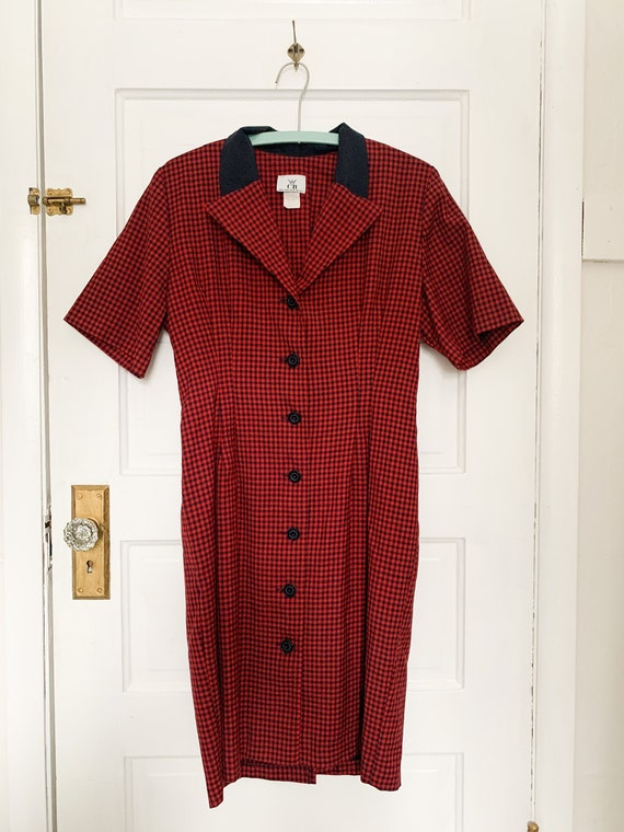 Vintage Red And Navy Dress