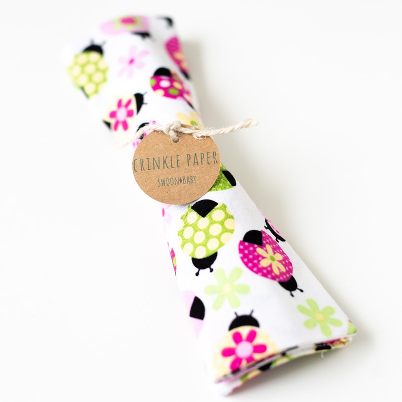 Newborn Girl Gift Baby Sensory Toy Summer Ladybug Crinkle Paper Teething Toy 3 Month Toy Best Baby Toy Ladybug Baby Toy 6 Month Toy