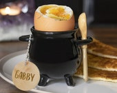 Personalised Witches Cauldron Egg Cup with Broom Spoon