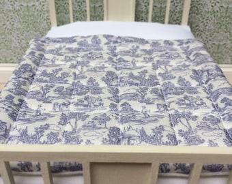 Dollshouse miniature 1:12 scale Toile de Jouy double eiderdown, bedspread and pillows set