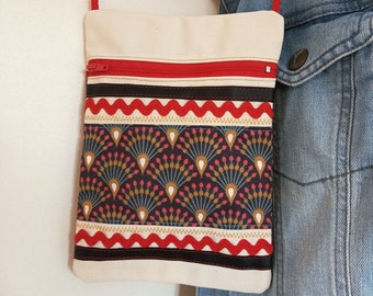 Travel pouch - THE PTI BAROUDEUR - Red fan canvas and fan patterns - made with recycled materials by All So Creations