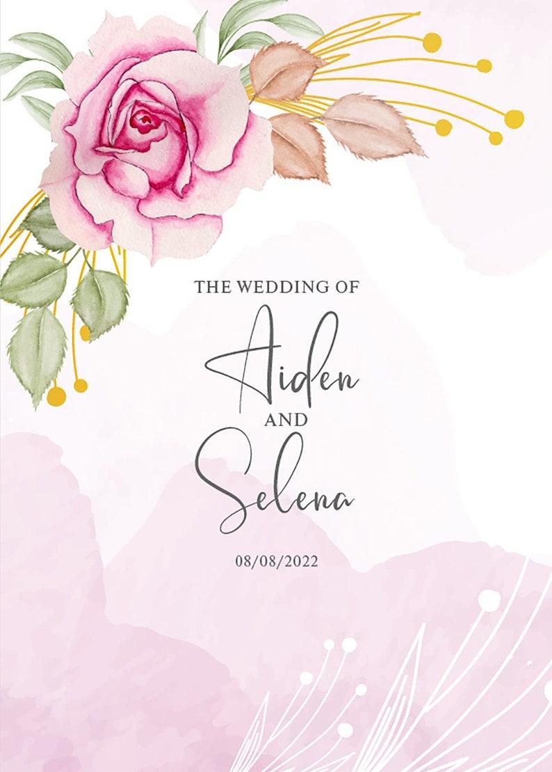 Editable Wedding RSVP Instant Download Pink Roses Nature Design Wedding Invitation Template Set Vector EPS File Watercolour Vector file