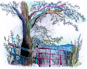 Countryside Illustration Print   Watercolour Painting   A3 Giclée Print
