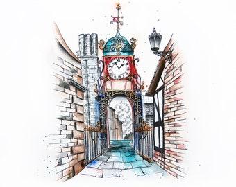 Eastgate Clocktower Illustration Print   Watercolour Painting   A3 Giclée Print