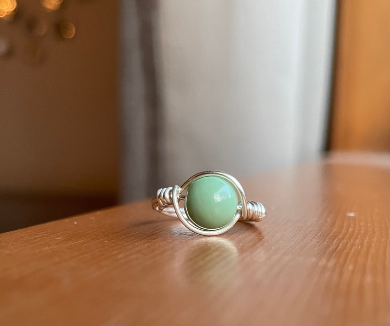 sea green wire-wrapped ring