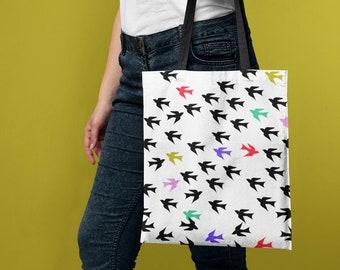 Black Sparrow Animal Portrayal Handbag Craft Poker Spade Canvas Bag Shopping Tote