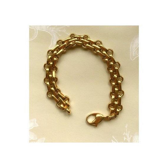 Vintage Kris Kross wooden chunky panel gold tone metal mid-century bracelet