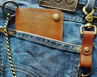 Biker wallet with vegetable tanning leather chain Made in France / leather biker wallet