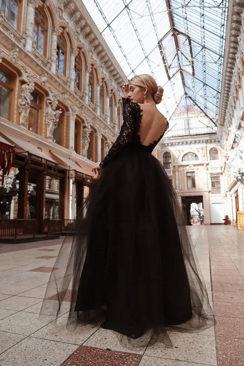 Open Back Tulle Evening Dress Maxi Black Tutu Dress Two image 0