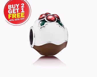 Christmas Pudding Gift Charm Sterling Silver Gift Split Ring