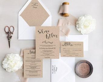 Rustic Wedding Invitation suite template, printable invitations instant download (Daisy design - INVITATION SUITE BUNDLE)