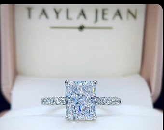 3 Carat Radiant Cut Ring 5A Cubic Zirconia white gold plated 925 sterling silver, engagement ring, promise ring, rings for women