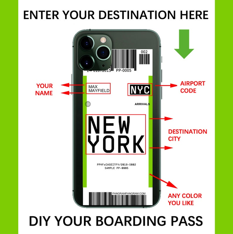CUSTOMIZED Flight Boarding Pass iPhone Case Android Phone Case for Samsung Huawei