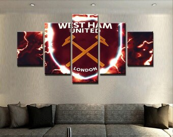 FC West Ham United,Canvas Prints,Paper Prints,Football Logo,Premier League,England,Logo Canvas,Logo Print,Art Decor,Gym Decor,Paper,Canvas.