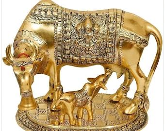 Brass Golden Kamdhenu Cow with Calf     Vastu Gau MATA Idol     Spiritual Vastu Nandi Pooja Figurine Sculpture
