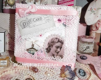 "Shabby-Retro ""Lady with Roses"" card."